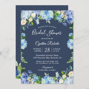 Navy Blue Hydrangea Floral Gorgeous Bridal Shower Invitation starting at 2.30