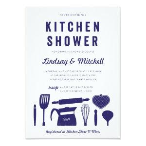 Navy Blue Kitchen Couple's Shower Invitations starting at 2.51