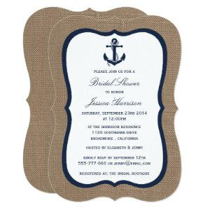 Navy Blue Nautical Anchor On Burlap Bridal Shower Invitation starting at 2.76