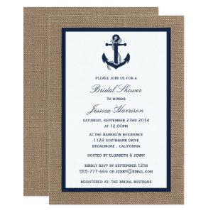 Navy Blue Nautical Anchor On Burlap Bridal Shower Invitation starting at 2.51