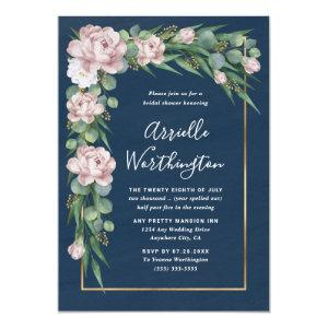 Navy Blue & Pink Dusty Rose Greenery Bridal Shower Invitation starting at 2.25