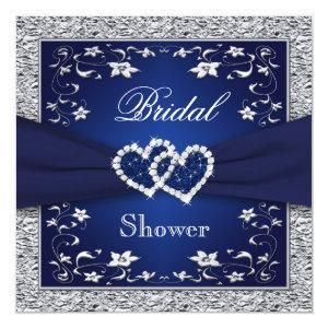 Navy Blue, Silver Floral, Hearts Bridal Shower Invitation starting at 2.51