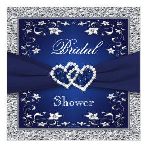 Navy Blue, Silver Floral, Hearts Bridal Shower Invitation starting at 2.40