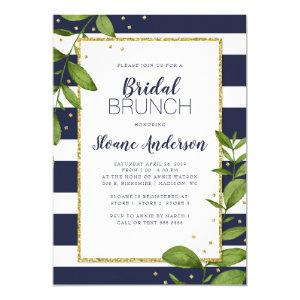Navy Blue Stripes Botanical Bling Bridal Brunch Invitation starting at 2.40