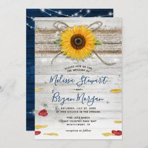 Navy Blue Sunflower Rose Wood Lace Rustic Wedding Invitation starting at 2.82