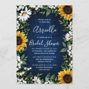 Navy Blue Sunflower Rustic Country Bridal Shower starting at 2.25