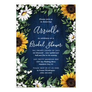 Navy Blue Sunflower Rustic Country Bridal Shower Invitation starting at 2.25