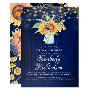Navy Blue Sunflowers Rustic Fall Bridal Shower Invitation starting at 2.26