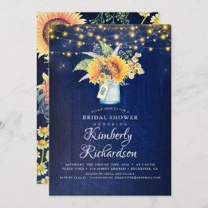 Navy Blue Sunflowers Rustic Fall Bridal Shower Invitation starting at 2.51