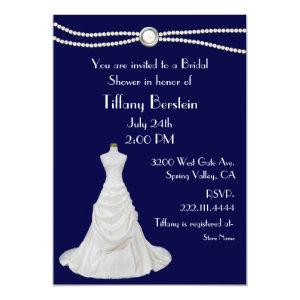 Navy Blue Wedding Dress Bridal Shower Invitation starting at 2.66