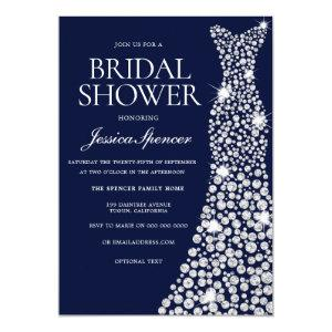Navy Blue White Wedding Dress Bridal Shower Invite starting at 2.40