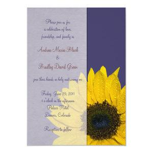 Navy Blue Yellow Sunflower Wedding Invitation starting at 2.66
