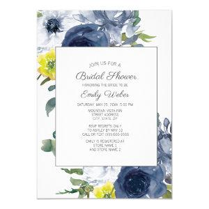 Navy Blue Yellow White Floral Bridal Shower Invitation starting at 2.55
