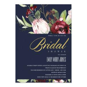 NAVY BLUSH BURGUNDY PROTEA FLORAL BRIDAL SHOWER INVITATION starting at 2.35