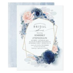 Navy Blush Dusty Blue Floral Modern Bridal Shower Invitation starting at 2.51