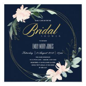 NAVY BLUSH FLORAL FRAME WATERCOLOR BRIDAL SHOWER INVITATION starting at 2.55