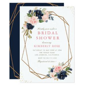 Navy & blush floral geometric bridal shower invitation starting at 2.35