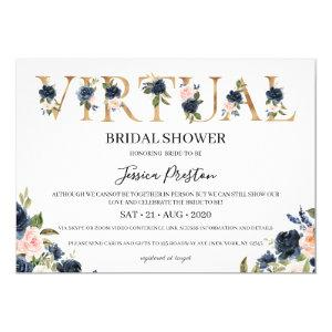 Navy Blush Floral Virtual Bridal Shower Invitation starting at 2.40