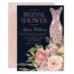 Navy & Blush Rose Gold Dress Floral Bridal Shower Invitation starting at 2.40