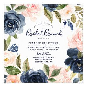 Navy Blush Watercolor Flowers Bridal Shower Brunch Invitation starting at 2.30