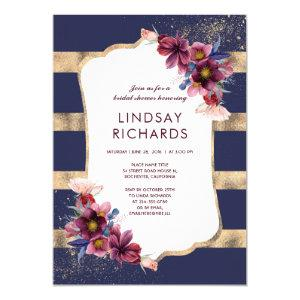 Navy Burgundy and Gold Floral Bridal Shower Invitation starting at 2.30