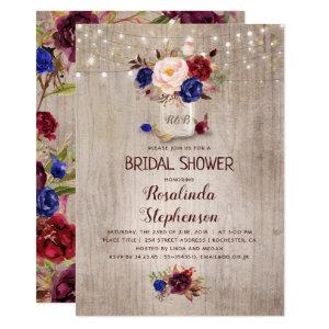 Navy Burgundy Blush Mason Jar Rustic Bridal Shower Invitation starting at 2.40