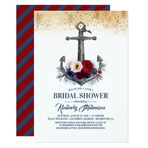 Navy Burgundy Floral Anchor Nautical Bridal Shower Invitation starting at 2.51