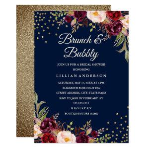 Navy Burgundy Floral Confetti Brunch and Bubbly Invitation starting at 2.15
