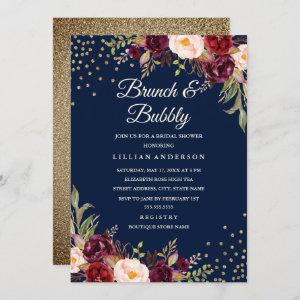 Navy Burgundy Floral Confetti Brunch and Bubbly Invitation starting at 2.40
