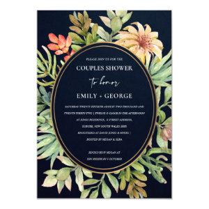 NAVY DESERT SUCCULENT CACTI FOLIAGE COUPLE SHOWER INVITATION starting at 2.65