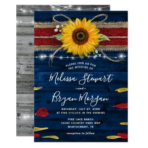 Navy Gray Red Rose Sunflower Rustic Wood Wedding Invitation starting at 2.52