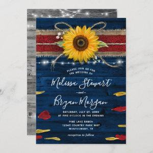 Navy Gray Red Rose Sunflower Rustic Wood Wedding Invitation starting at 2.82