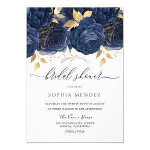 Navy Indigo Blue & Gold Floral Bridal Shower Invitation starting at 2.40