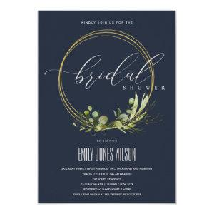 NAVY LEAFY GREEN FOLIAGE WATERCOLOR BRIDAL SHOWER INVITATION starting at 2.65