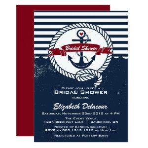 Navy Red Rustic Nautical Bridal Shower Invitation starting at 2.51