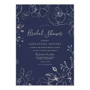 Navy & Silver Floral Modern Bridal Shower Invitation starting at 2.55