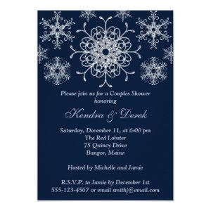 Navy, Silver Snowflakes Couples Shower Invite starting at 2.55