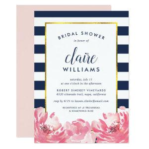 Navy Stripe & Pink Peony Bridal Shower Invitation starting at 2.51