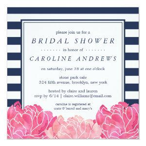 Navy Stripe & Pink Peony Bridal Shower Invitation starting at 2.41