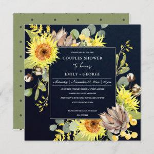 NAVY SUNFLOWER EUCALYPTUS FLORAL COUPLES SHOWER INVITATION starting at 2.55