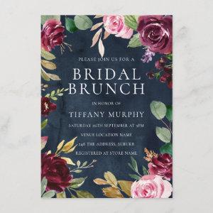 Navy Watercolor Floral Wreath Bridal Shower Brunch Invitation starting at 2.15