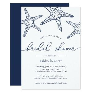 Navy & White Starfish Bridal Shower Invitation starting at 2.51