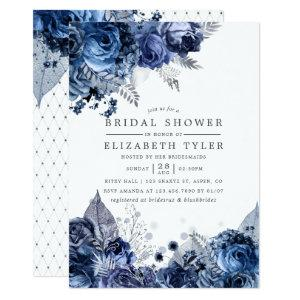 Navy & White with Silver Foil Floral Bridal Shower Invitation starting at 2.66