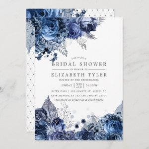 Navy & White with Silver Foil Floral Bridal Shower Invitation starting at 2.51