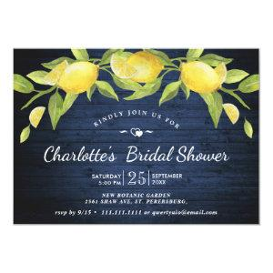 Navy Wood & Lemons Greenery Rustic Bridal Shower Invitation starting at 2.10