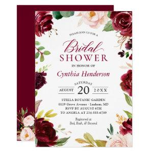 New! Beautiful Blush Burgundy Floral Bridal Shower Invitation starting at 2.40