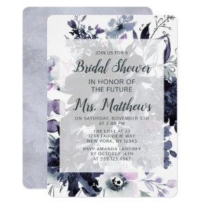 Nocturnal Floral Dusty Blue & Navy Bridal Shower Invitation starting at 2.75