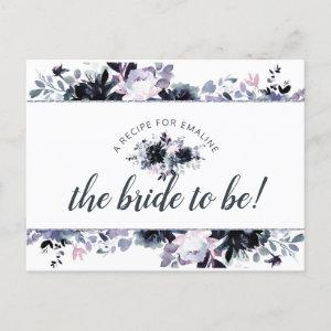 Nocturnal Floral Navy Blue Bride to Be Recipe Card starting at 1.80