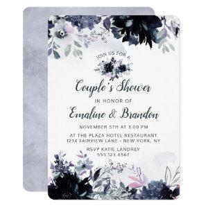 Nocturnal Floral Navy Blue Couple's Wedding Shower Invitation starting at 2.75