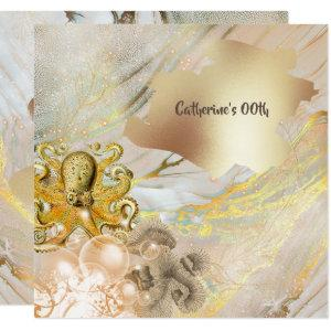Octopus modern faux gold ocean coral nautical chic invitation starting at 2.30